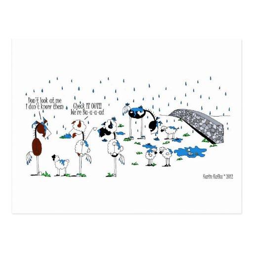 Cute Horse & Sheep Cartoon Post Cards