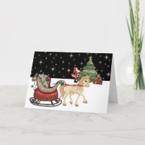Cute Horse, Sleigh and Santa Delivering Gifts Holiday Card