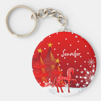 Cute Horse, Snowflakes & Xmas Trees custom Name Basic Round Button Keychain