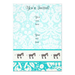 Cute Horse; Teal 5x7 Paper Invitation Card