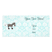 Cute Horse; Teal Rack Card