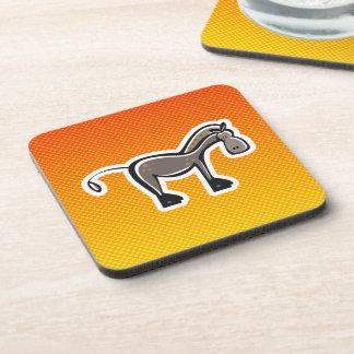 Cute Horse; Yellow Orange Drink Coasters