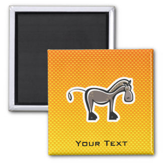 Cute Horse; Yellow Orange 2 Inch Square Magnet