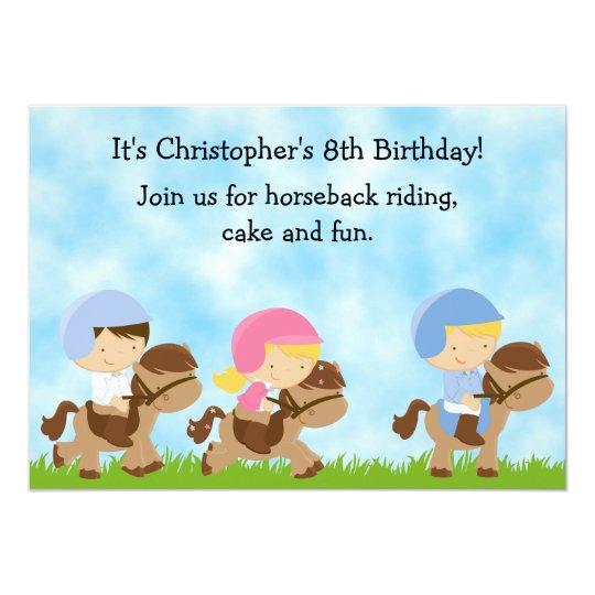 Cute Horseback Riding Birthday Invitation for Boys