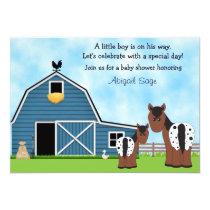 Cute Horses and Barn Boys Baby Shower Invitation