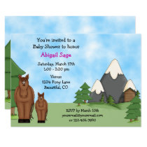 Cute Horses and Mountains Girl's Baby Shower Invitation