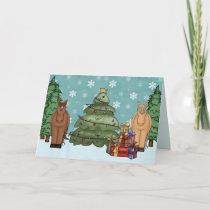 Cute Horses, Christmas Tree and Gifts Holiday