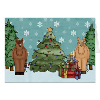 Cute Horses, Christmas Tree and Gifts Holiday Card