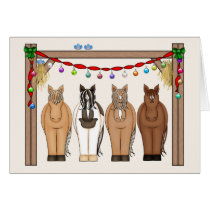 Cute Horses Happy Holidays Christmas Greeting Card