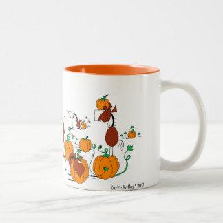 Cute Horses ina Pumpkin Patch Cartoon Mugs