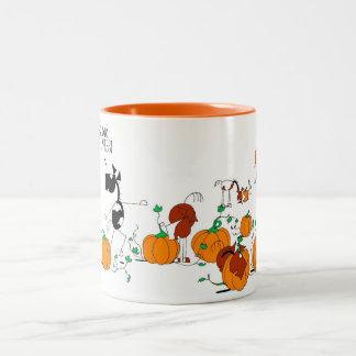 Cute Horses ina Pumpkin Patch Cartoon Two-Tone Coffee Mug