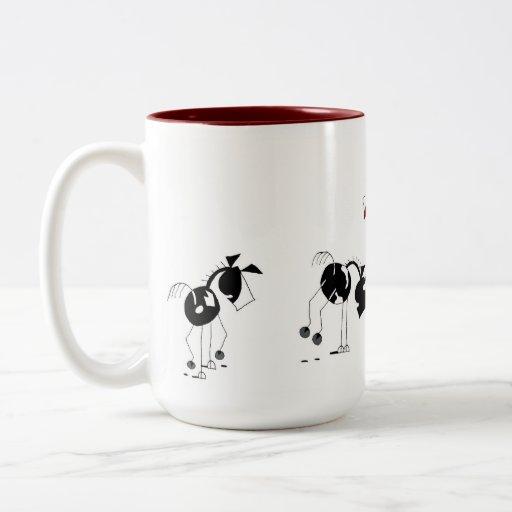 Cute Horses Running Cartoon Two Tone Coffee Mug Zazzle