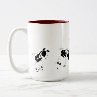 Cute Horses Running Cartoon Two-Tone Coffee Mug