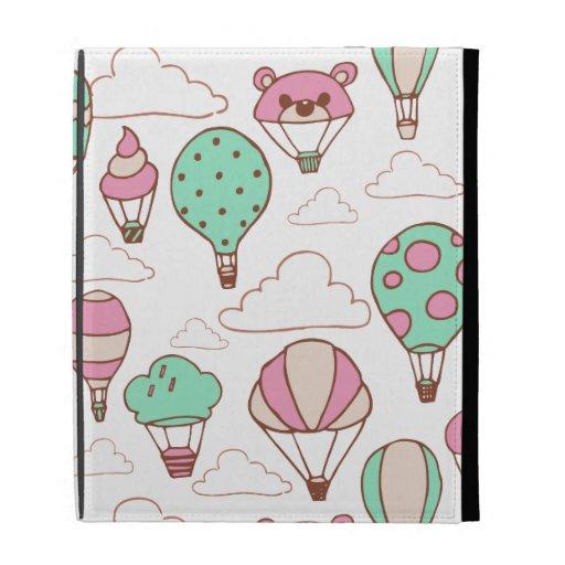 Cute Hot Air Balloons Pattern iPad Folio Cover