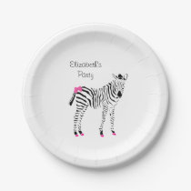 Cute Hot Pink and Black Girly Zebra With Name Paper Plate