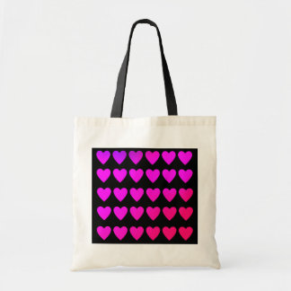Cute hot pink and purple hearts tote bags