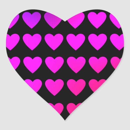 Cute hot pink and purple hearts heart sticker