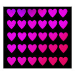 Cute hot pink and purple hearts poster