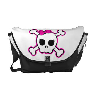 Cute Hot Pink Bow Skull Courier Bag