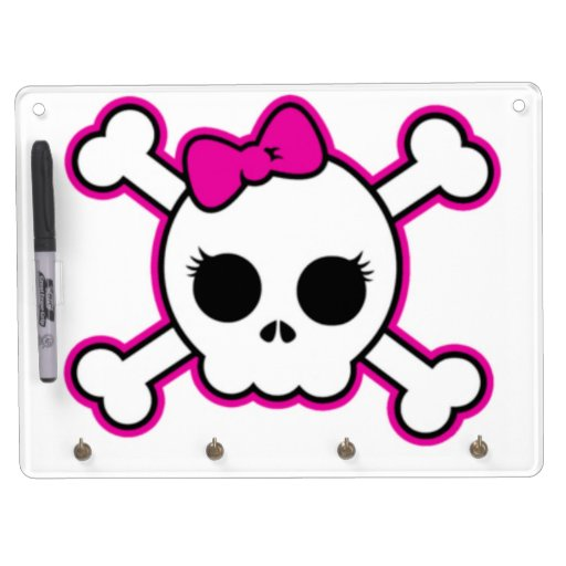 Cute Hot Pink Bow Skull Dry Erase Board With Keychain Holder