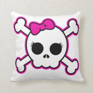 Cute Hot Pink Bow Skull Pillow