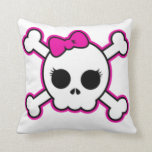 Cute Hot Pink Bow Skull Throw Pillow