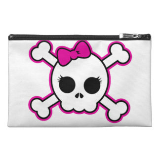 Cute Hot Pink Bow Skull Travel Accessory Bag