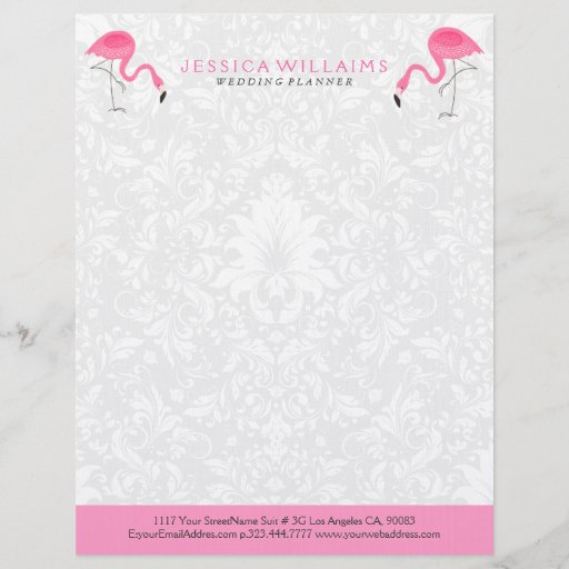 Cute Hot Pink Flamingo Illustration Letterhead