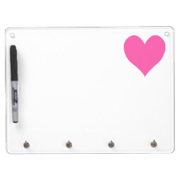Cute Hot Pink Heart Dry Erase Board With Keychain Holder