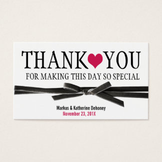Cute Hot Pink Heart with Velvet Ribbon Thank You Business Card