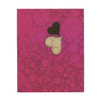 Cute Hot Pink Hearts Wood Wall Art