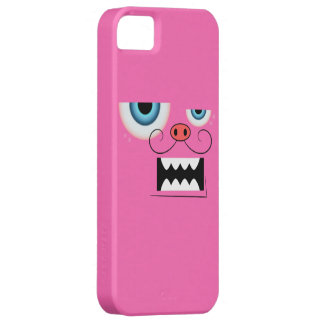 Cute Hot Pink Mustache Monster Emoticon iPhone SE/5/5s Case