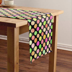 Cute Hot Pink Neon Lime Green Polka Dots Pattern Medium Table Runner