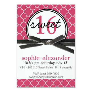 Cute Hot Pink Sweet 16 Party Card