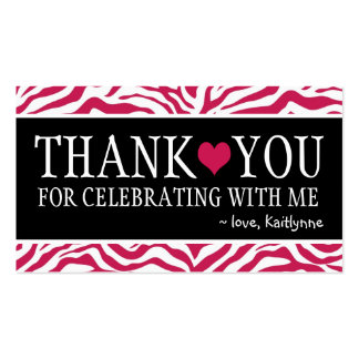 Cute Hot Pink Zebra Any Occasion Thank You Business Card Templates
