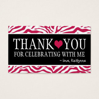 Cute Hot Pink Zebra Any Occasion Thank You Business Card