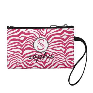Cute Hot Pink Zebra Monogram and Name Coin Wallet