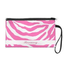Cute Hot Pink Zebra Stripes Girly Bagette Wristlet at Zazzle