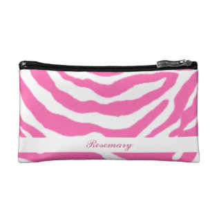 Cute Hot Pink Zebra Stripes Girly Cosmetic Bag at Zazzle
