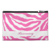 Cute Hot Pink Zebra Stripes Girly Travel Accessory Travel  Accessories Bags at Zazzle