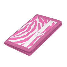 Cute Hot Pink Zebra Stripes Girly Wallet at Zazzle
