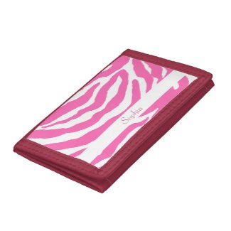 A cool girly purse with hot pink zebra stripes on a white background on the front. Personalize with your choice of name