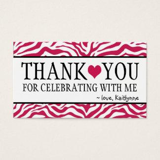 Cute Hot Pink Zebra Thank You Business Card