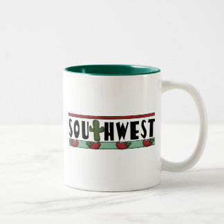 Cute Hot Red Chili Peppers - American Southwest Two-Tone Coffee Mug