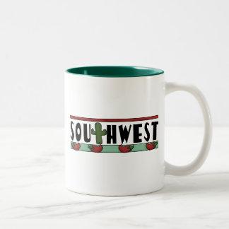 Cute Hot Red Chili Peppers - American Southwest Two-Tone Coffee Mug