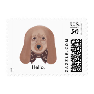 Cute Hound Dog Painting Hello Greeting Post Stamps