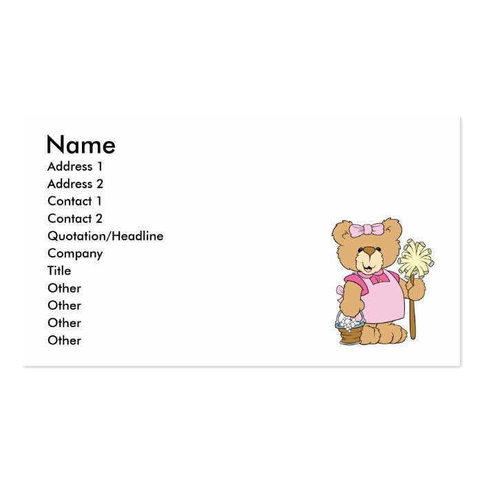 Cute House Cleaning Bear Business Card