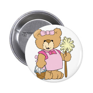 Cute House Cleaning Bear Button