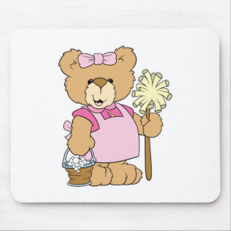 Cute House Cleaning Bear Mouse Pad