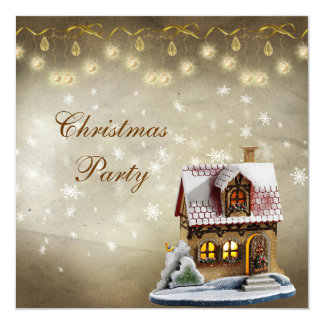 Cute House Elegant Gold & Brown Christmas Party Card